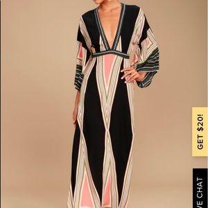 LULUs MONTECITO BLACK PRINT MAXI DRESS - Medium